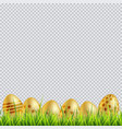 golden easter eggs on a grass on transparent vector image vector image