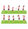 golf players sport athletes in actions vector image