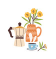hand drawn morning composition with coffee and vector image