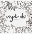 hand drawn vegetables doodles background vector image