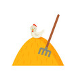 haystack and white hen on top vector image