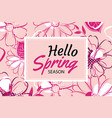 hello spring banner template with colorful vector image