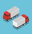 isometric red truck with white trailer vector image vector image