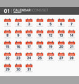 january calendar icons set date and time 2018 vector image vector image