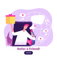 man with megaphone offers referral gifts digital vector image