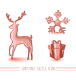 Merry Christmas red sketch style elements set vector image vector image