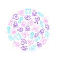 newborn babies signs thin line round design vector image