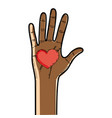 nice hand up with heart in the palm vector image vector image
