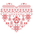 Nordic pattern in hearts shape with an angel vector image vector image