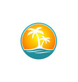 palm tree beach travel logo vector image vector image