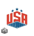 Quality USA logo colored flag of America print vector image vector image