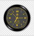 realistic black and yellow round wall clock vector image vector image