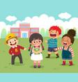 sad little girl being bullied her schoolmates vector image
