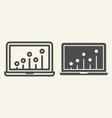 seo graph line and glyph icon chart on laptop vector image vector image
