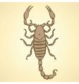Sketch horrible scorpion in vintage style vector image vector image