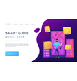 smart guide and mobile center landing page vector image vector image