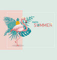 summer banner design of flamingo and leaves vector image