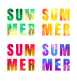 summer text set isolated white background vector image