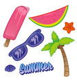 summer time set sticker vector image