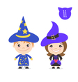 two happy cute kids characters Boy in magician vector image vector image