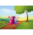 Two monsters walking at the pathway in the hilltop vector image vector image