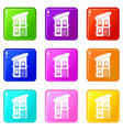 two-storey house icons 9 set vector image vector image