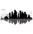 usa city skyline black and white silhouette with vector image