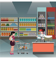 woman in supermarket with casher girl vector image vector image