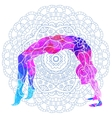 yoga pose over ornate round mandala pattern vector image