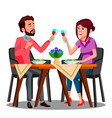 young couple drinking wine from glasses in a vector image
