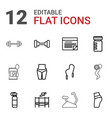 12 fitness icons vector image vector image