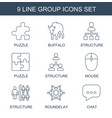 9 group icons vector image vector image