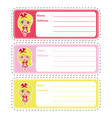 address label cartoon with cute girl on colorful