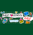 back to school sale doodles horizontal background vector image vector image