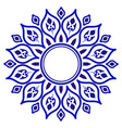 blue floral round frame vector image vector image