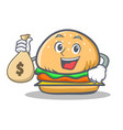burger character fast food with money bag vector image