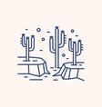 cactus in dry desert landscape outline vector image