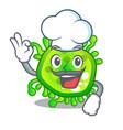 chef cartoon microba virus bacteria in body vector image