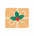 christmas gift box with holly berry view from vector image
