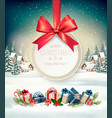 christmas holiday background with a gift card and vector image vector image