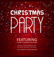 christmas party snow red background vector image vector image