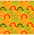 colorful children face cartoon seamless pattern vector image