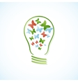 Concept bulb with butterflies vector image vector image