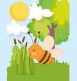 cute flying bee trees vegetation plants farm vector image vector image