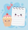 cute notepad and apple love hearts kawaii cartoon vector image