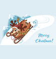 deer on sleigh on sleigh winter scene vector image vector image