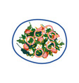 delicious salad with feta cheese onion tomatoes vector image