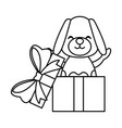dog in giftbox vector image
