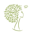 Ecology concept female head for your design vector image vector image