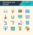 education and school icons filled outline design vector image